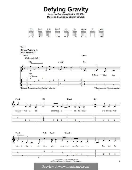 Defying Gravity (from the Broadway Musical Wicked): Für Gitarre (Sehr leichte Fassung) by Stephen Schwartz
