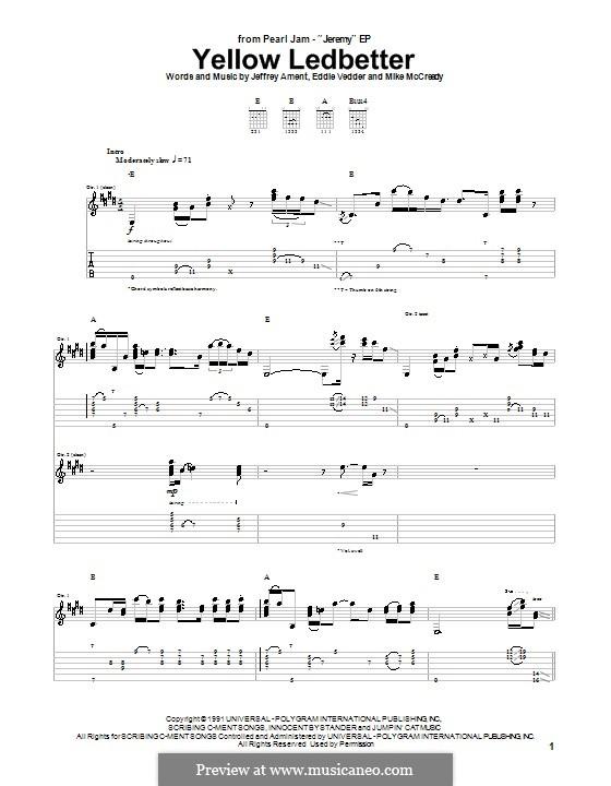 Yellow Ledbetter (Pearl Jam): Für Gitarre mit Tab by Eddie Vedder, Jeff Ament, Mike McCready