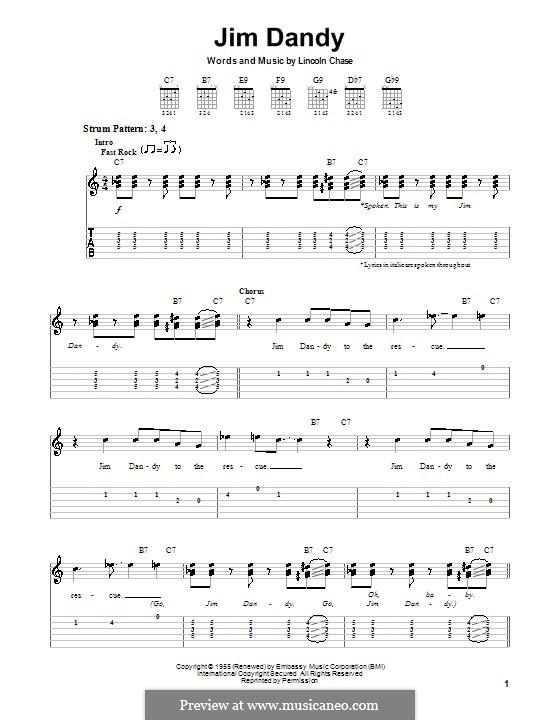 Jim Dandy (Black Oak Arkansas): Für Gitarre (Sehr leichte Fassung) by Lincoln Chase