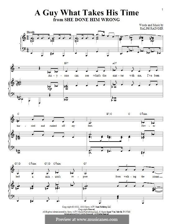 A Guy What Takes His Time (Christina Aguilera): Für Stimme und Klavier (oder Gitarre) by Ralph Rainger