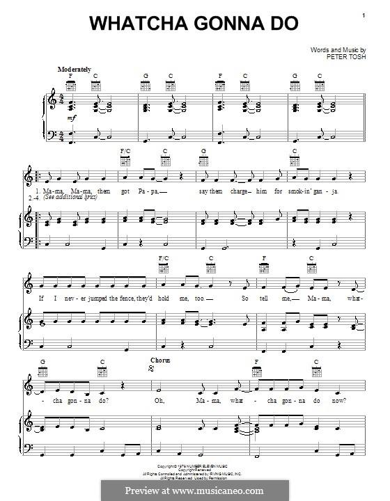 Whatcha Gonna Do: Für Stimme und Klavier (oder Gitarre) by Peter Tosh