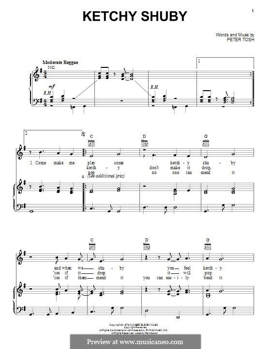 Ketchy Shuby: Für Stimme und Klavier (oder Gitarre) by Peter Tosh
