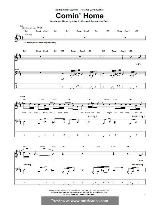 Comin' Home (Lynyrd Skynyrd): Für Bassgitarre mit Tabulatur by Allen Collins, Ronnie Van Zant
