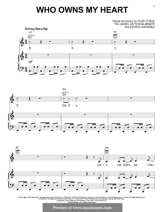 Who Owns My Heart (Miley Cyrus): Für Stimme und Klavier (oder Gitarre) by Antonina Armato, Devrim Karaoglu, Timothy James
