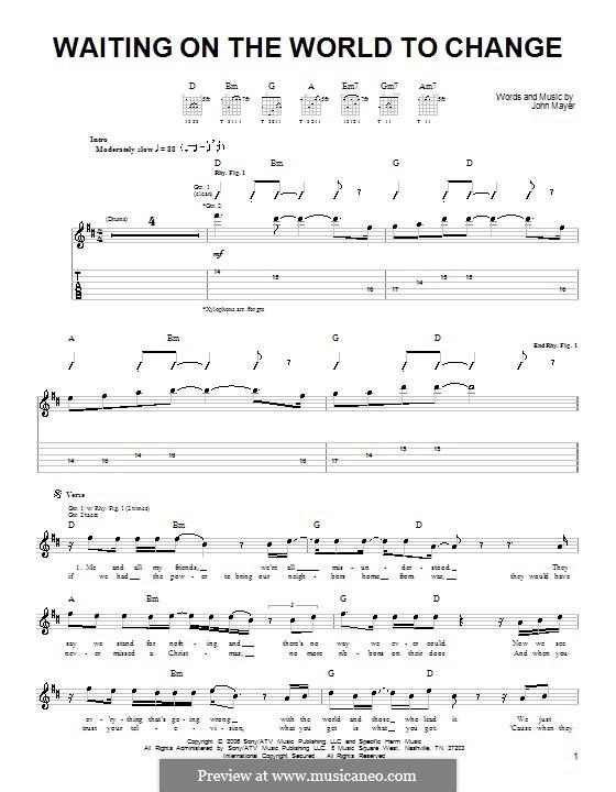 Waiting on the World to Change: Für Gitarre (Sehr leichte Fassung) by John Mayer