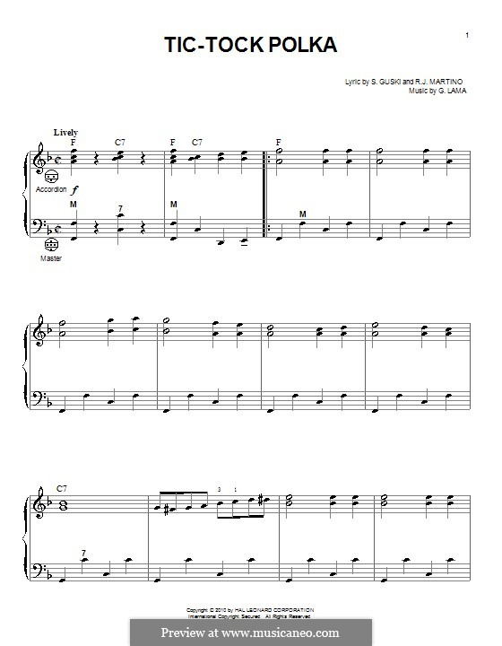 Tic-Tock Polka: Für Akkordeon by G. Lama, R.J. Martino, S. Guski