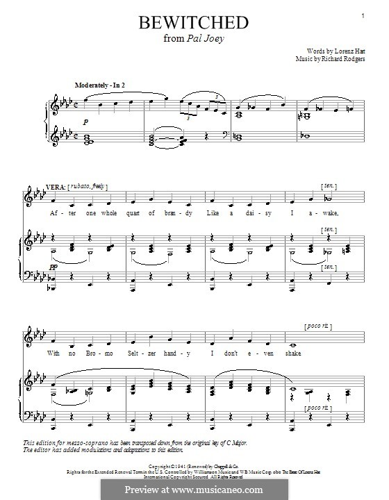 Bewitched (The Betty Smith Group): Für Stimme und Klavier oder Gitarre (As-Dur) by Richard Rodgers