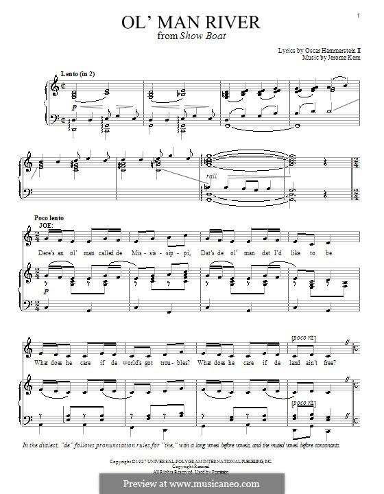 Ol' Man River (from Show Boat): Für Stimme und Klavier (oder Gitarre) by Jerome Kern
