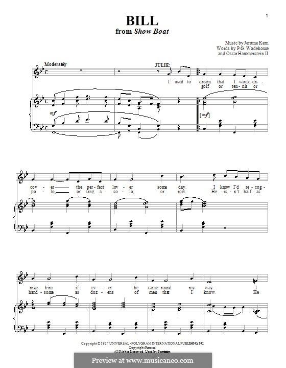 Bill: Für Stimme und Klavier (oder Gitarre) by Jerome Kern