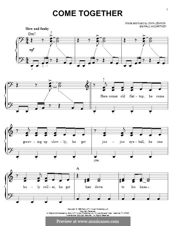 Come Together (The Beatles): Für Klavier, leicht by John Lennon, Paul McCartney