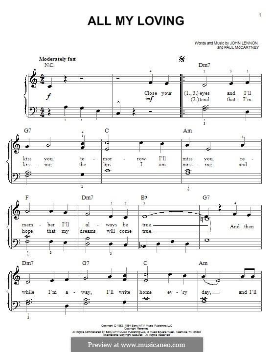 All My Loving (for guitar or piano): Für Klavier, leicht by John Lennon, Paul McCartney