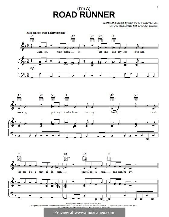 (I'm A) Road Runner (Junior Walker & the All Stars): Für Stimme und Klavier (oder Gitarre) by Brian Holland, Edward Holland Jr., Lamont Dozier