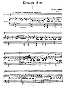 Konzert für Violine und Orchester in d-Moll, WoO 23: Bearbeitung für Violine und Klavier by Robert Schumann