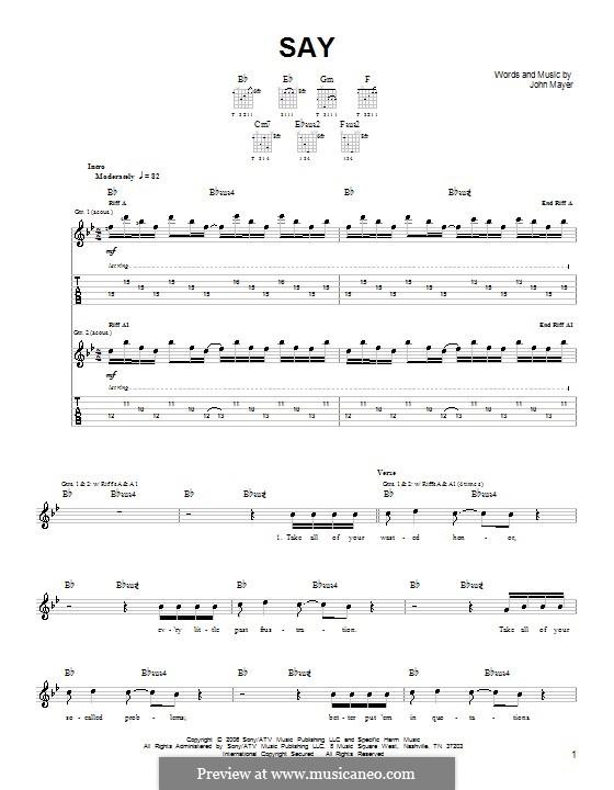 Say: Für Gitarre (Sehr leichte Fassung) by John Mayer