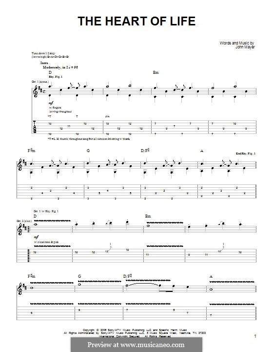 The Heart of Life: Für Gitarre (Sehr leichte Fassung) by John Mayer