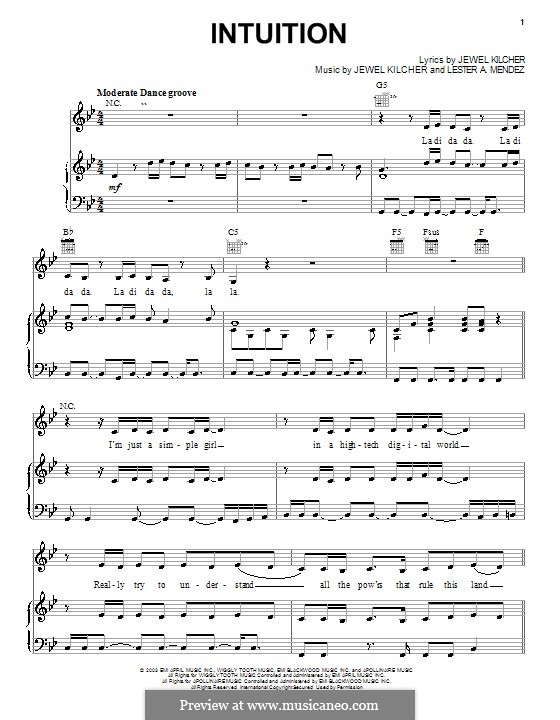 Intuition (Jewel): Für Stimme und Klavier (oder Gitarre) by Jewel Kilcher, Lester A. Mendez