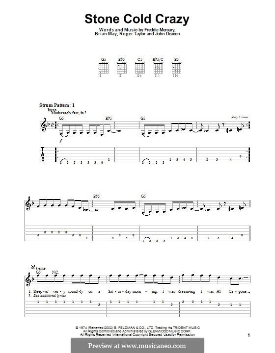 Stone Cold Crazy (Queen): Für Gitarre (leicht, mit Tabulatur) by Brian May, Freddie Mercury, John Deacon, Roger Taylor