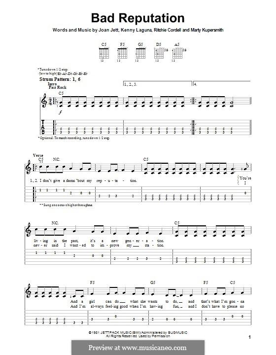 Bad Reputation (Joan Jett): Für Gitarre (Sehr leichte Fassung) by Kenny Laguna, Marty Kupersmith, Ritchie Cordell