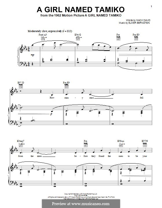 A Girl Named Tamiko: Für Stimme und Klavier (oder Gitarre) by Elmer Bernstein
