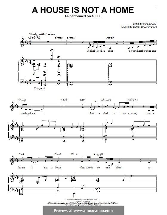 A House Is Not a Home: Für Stimme mit Klavier oder Gitarre (Glee Cast) by Burt Bacharach