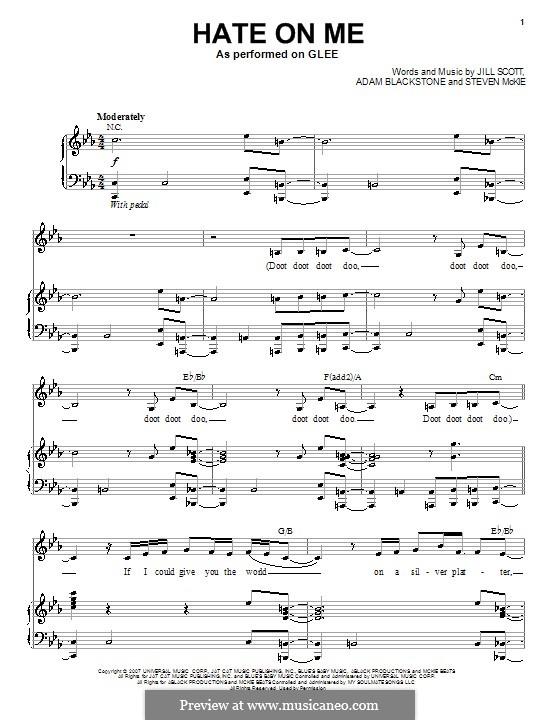 Hate on Me: Für Stimme mit Klavier oder Gitarre (Glee Cast) by Adam Blackstone, Steven McKie