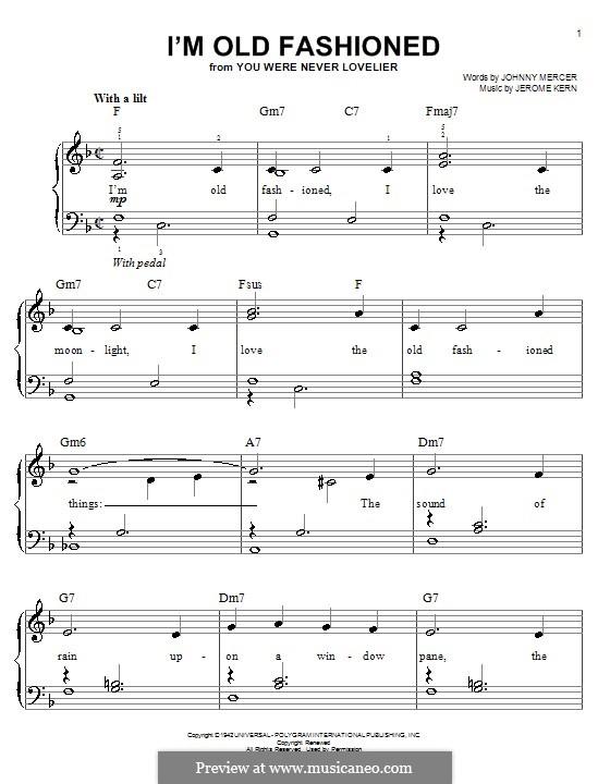 I'm Old Fashioned: Für Klavier, leicht by Jerome Kern