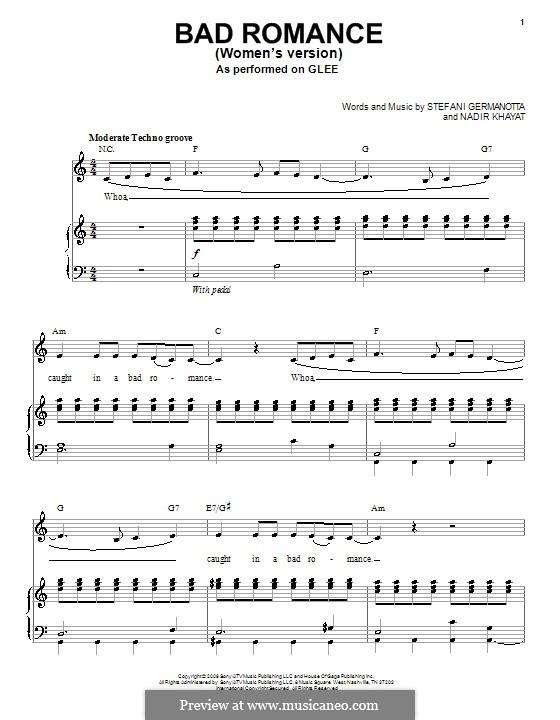 Bad Romance (Lady Gaga): Für Stimme mit Klavier oder Gitarre (Glee Cast) by RedOne, Stefani Germanotta