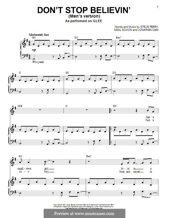 Don't Stop Believin': Für Stimme mit Klavier oder Gitarre (Glee Cast) by Jonathan Cain, Neal Schon, Steve Perry