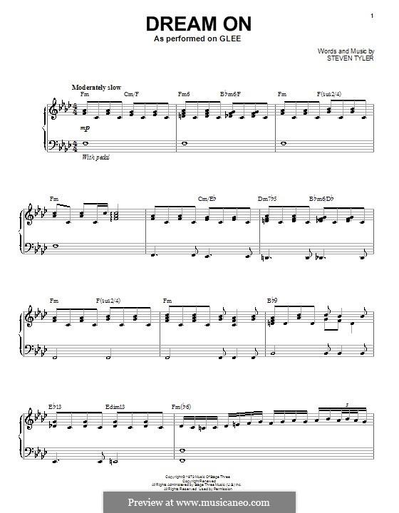 Dream On (Aerosmith): Für Stimme mit Klavier oder Gitarre (Glee Cast) by Steven Tyler