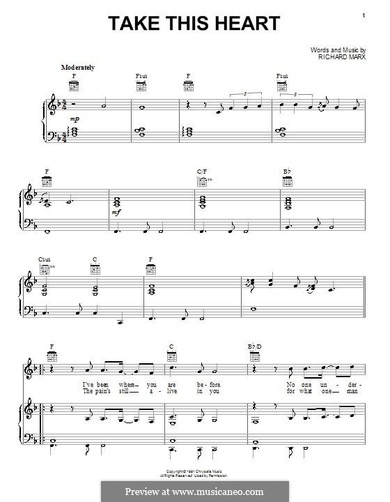 Take This Heart: Für Stimme und Klavier (oder Gitarre) by Richard Marx