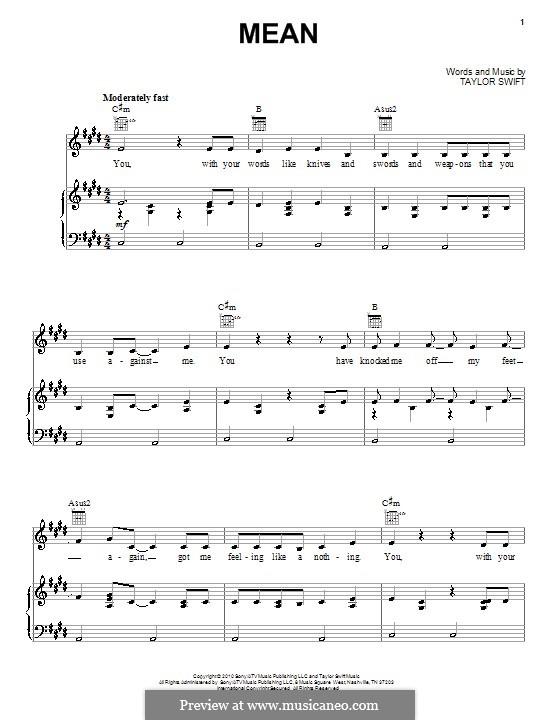 Mean: Für Stimme und Klavier (oder Gitarre) by Taylor Swift