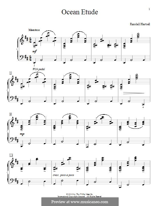 Ocean Etude: Für Klavier by Randall Hartsell