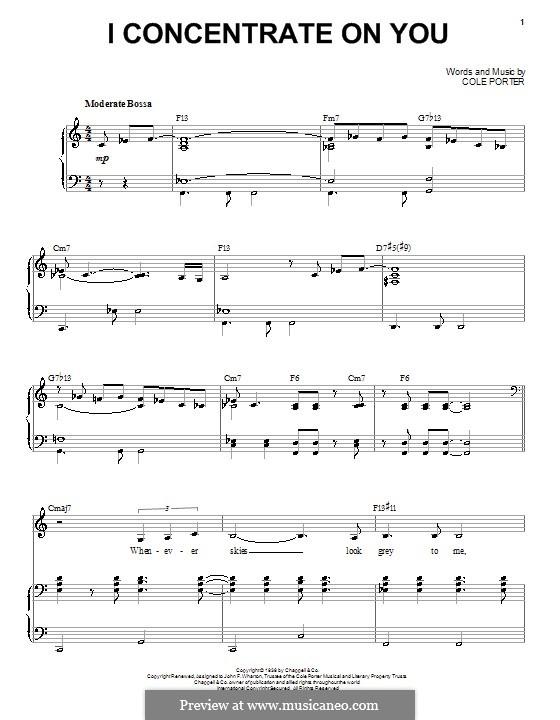 I Concentrate on You: Für Stimme und Klavier by Cole Porter