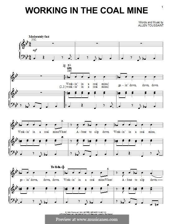 Working in the Coal Mine (Devo): Für Stimme und Klavier (oder Gitarre) by Allen Toussaint
