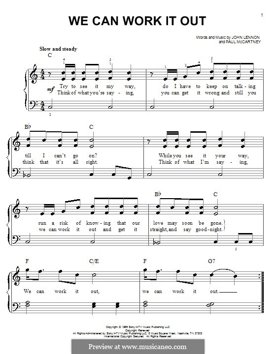 We Can Work it Out (The Beatles): Für Klavier, leicht by John Lennon, Paul McCartney