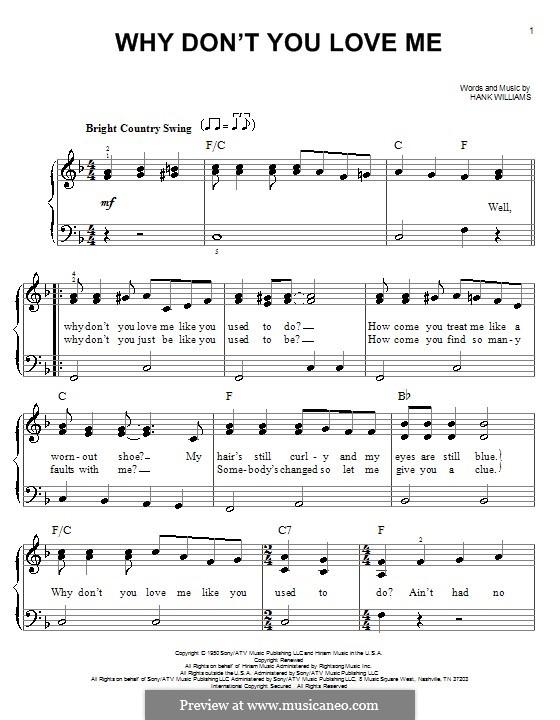 Why Don't You Love Me: Für Klavier, leicht by Hank Williams