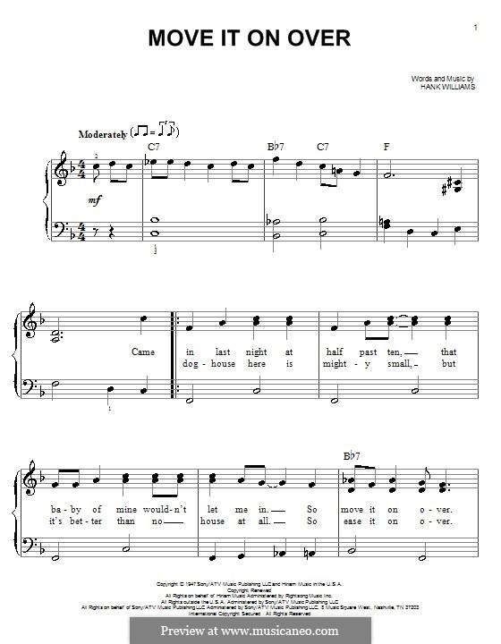 Move It on Over: Für Klavier, leicht by Hank Williams