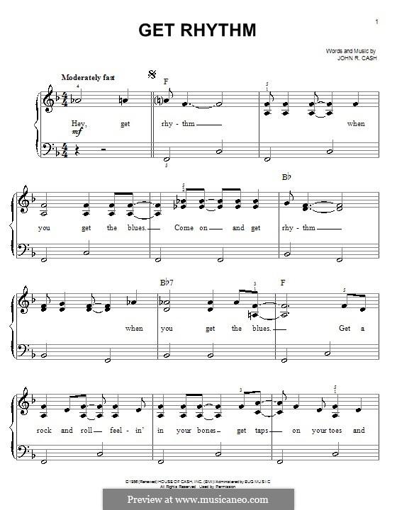Get Rhythm: Für Klavier, leicht by Johnny Cash