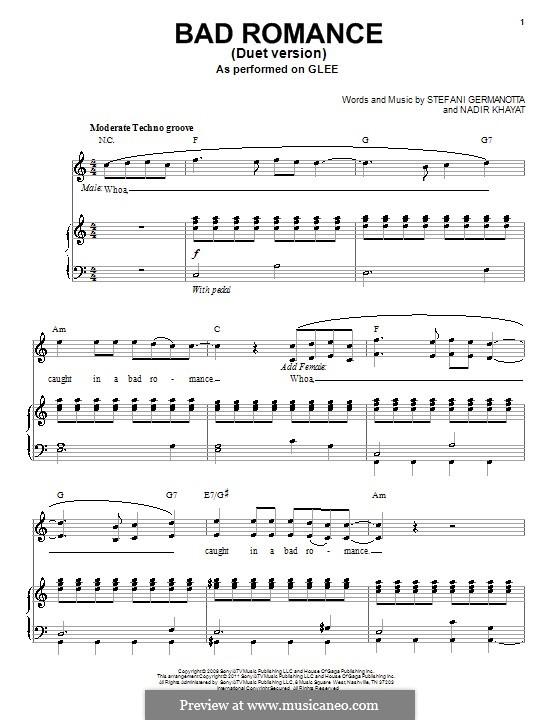 Bad Romance (Lady Gaga): Für Stimme und Klavier (Glee Cast) by RedOne, Stefani Germanotta