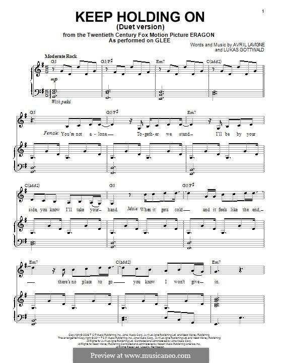 Keep Holding On: Für Stimme und Klavier by Avril Lavigne, Lukas Gottwald