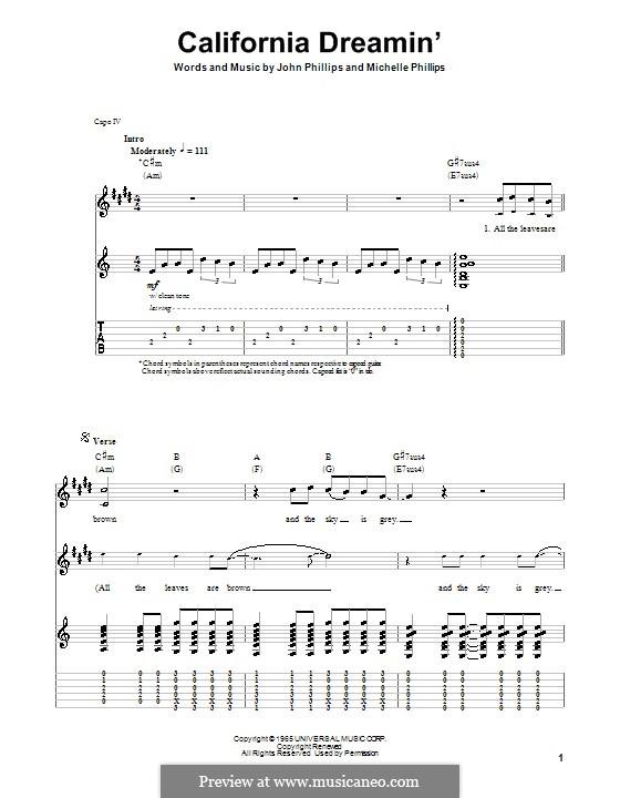 California Dreamin' (The Mamas & The Papas): Für Gitarre mit Tab by John Phillips, Michelle Phillips