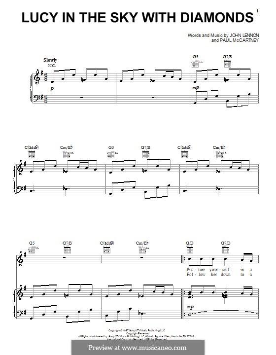 Lucy in the Sky with Diamonds (The Beatles): Für Stimme und Klavier oder Gitarre (G-Dur) by John Lennon, Paul McCartney