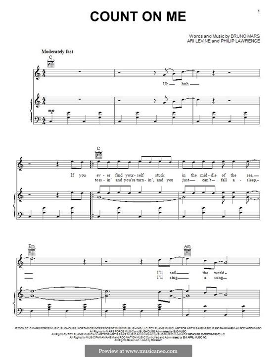 Count on Me: Für Stimme und Klavier (oder Gitarre) by Ari Levine, Bruno Mars, Philip Lawrence