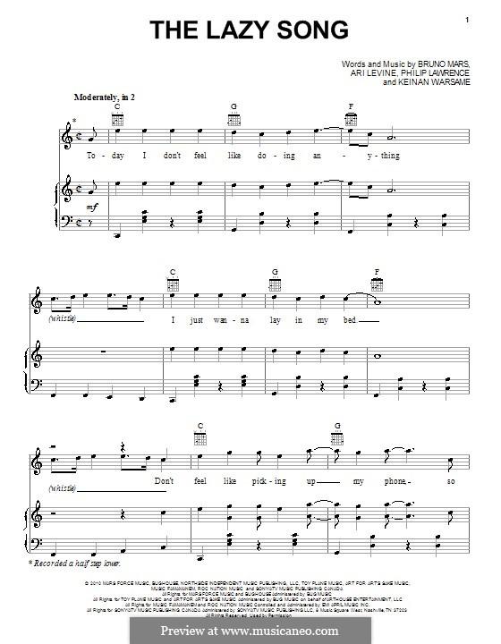 The Lazy Song: Für Stimme und Klavier (oder Gitarre) by Ari Levine, Keinan Abdi Warsame, Bruno Mars, Philip Lawrence