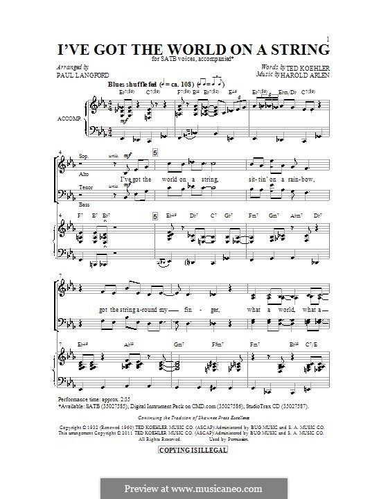 I've Got the World on a String: Chor SATB by Harold Arlen