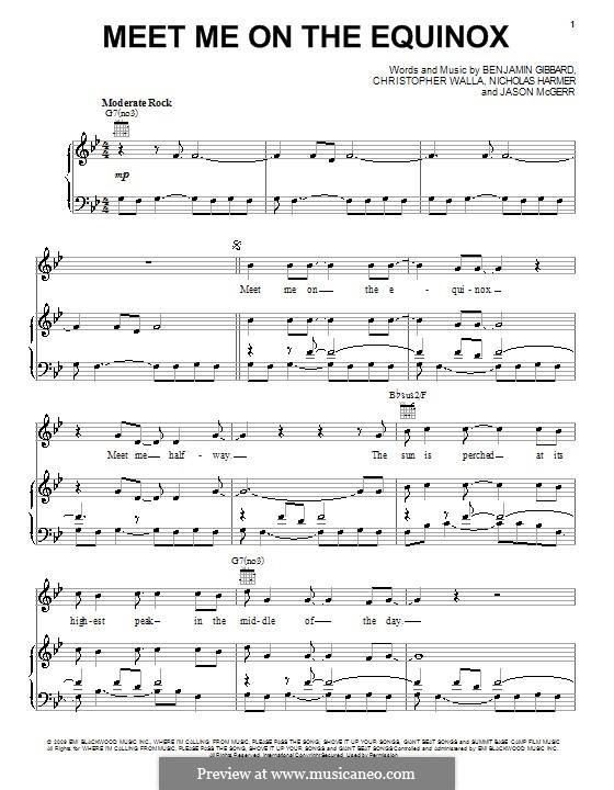Meet Me on the Equinox (Death Cab for Cutie): Für Stimme und Klavier (oder Gitarre) by Benjamin Gibbard, Christopher Walla, Jason McGerr, Nicholas Harmer