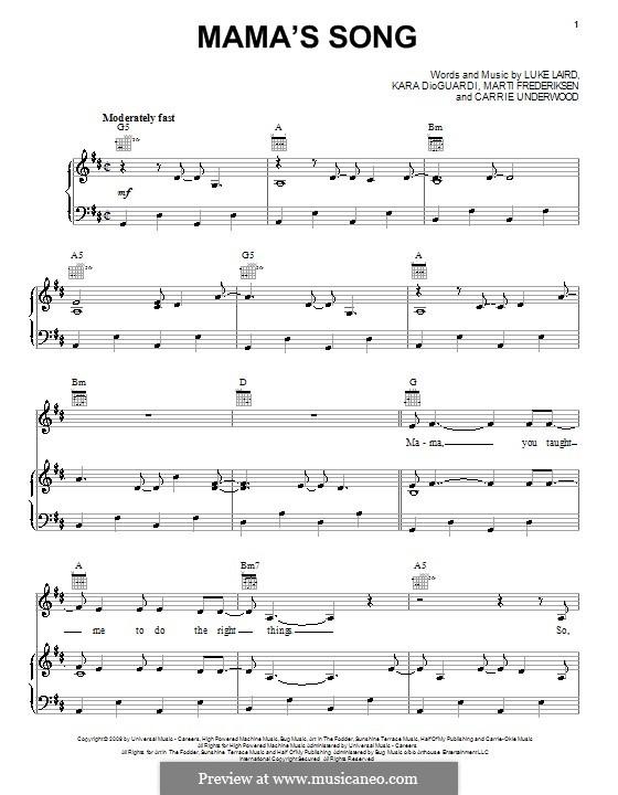Mama's Song: Für Stimme und Klavier (oder Gitarre) by Kara DioGuardi, Luke Laird, Martin Frederiksen