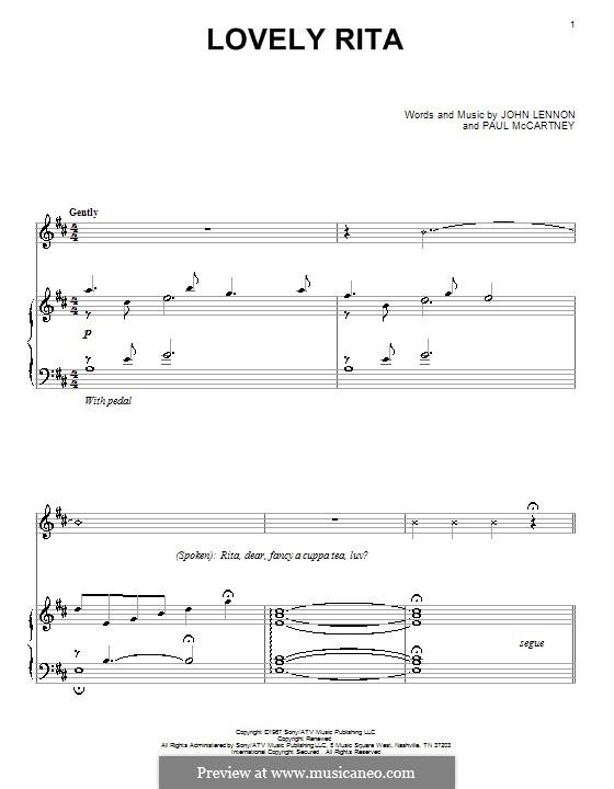 Lovely Rita (The Beatles): Für Klavier by John Lennon, Paul McCartney