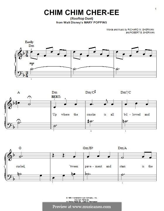 Chim Chim Cher-ee (from Mary Poppins): Für Klavier, leicht by Richard M. Sherman, Robert B. Sherman