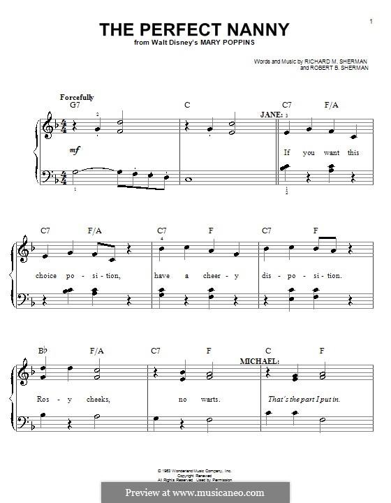 The Perfect Nanny: Für Klavier, leicht by Richard M. Sherman, Robert B. Sherman